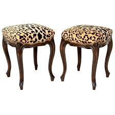 pair of french walnut stools with square leopard seats for sale at