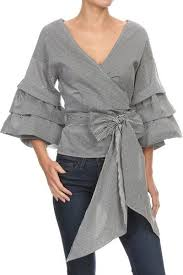 gray blouse amour ruffled sleeve wrap blouse trèscool