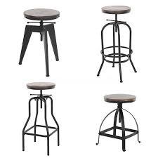 ikayaa industrial style height adjustable swivel bar stool natural