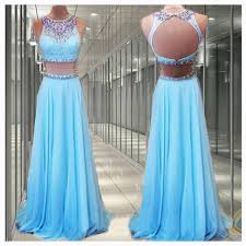 2 pieces prom dresses blue prom dress long prom dresses cheap