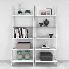 Ladder Bookcase White by Jasper Leaning Wall Bookcase Set Of 2 Ladder Shelf White