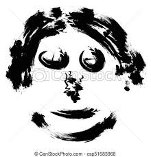 Meme Scary Face - abstract face hand draw brush vector face portrait of a clip
