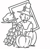 thanksgiving pilgrims and indian coloring page free printable