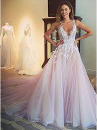 prom and wedding dresses glamorous lilac v neck sleeveless sweep appliques prom dress