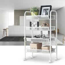 Kitchen Trolly Design by 4 Tier Metal Rolling Kitchen Trolley Cart Island Wire Rack Shelf