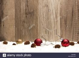 snow decoration christmas decoration with wooden background snow christmas baubles