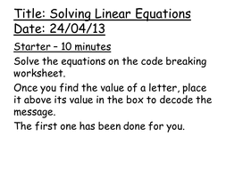 solving linear equations lesson by amwgauss teaching resources tes