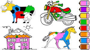 cow horse bicycle house coloring pages drawing for kids youtube