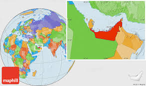 arab map political location map of united arab emirates