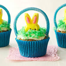 Decorating Easter Cupcakes With Peeps by Easter Basket Cupcakes Recipe Taste Of Home