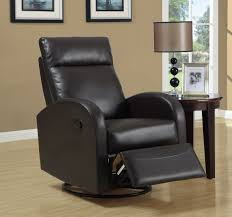 furniture black brown rocking recliner with table lamp and side