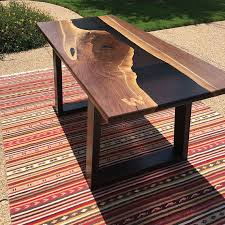 live edge river table epoxy resin river table walnut slab tubular steel and epoxy