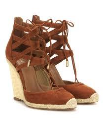 aquazzura belgravia 110 suede wedge sandals mytheresa com