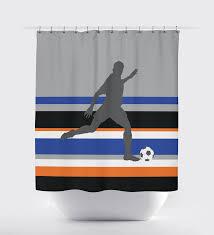 Orange And Blue Shower Curtain Custom Striped Soccer Themed Shower Curtain For Boys U2013 Shop