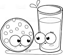 milk and cookie black and white coloring book page stock vector