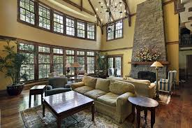 Great Room Family Lounge With Large Story Arched Window Brick - Large family room