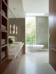 Modern Bathrooms South Africa - modern bathroom wooden large mirrors recessed large window מירית
