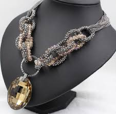 big crystal necklace images Fashion champagne gold statement choker necklace chains big glass jpg