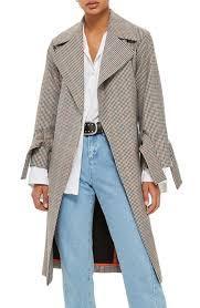 Top Shop Nail Bar Topshop Check Wrap Trench Coat Nordstrom