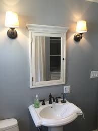 Restoration Hardware Bathroom Fixtures by Sherwin Williams Monochrome Blue Gray Paint Pottery Barn