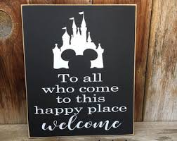 Mickey Home Decor Happy Place Welcome Etsy
