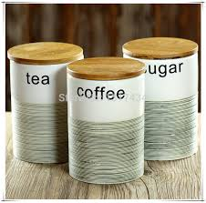 kitchen tea coffee sugar canisters three piece ceramic canister set with bamboo cover sealed cans tea