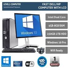 dell ordinateur de bureau dell hp pc computer desktop tower 19 tft mtr windows 10 wifi 8gb