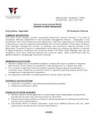 Sample Resume Objectives Hospitality Management by Event Manager Resume Template Virtren Com