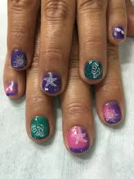 color changing stamped gel nails summer vacation gel nail