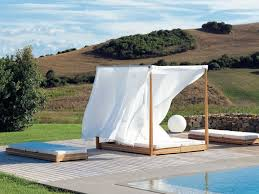 unqiue round outdoor bed swing with rattan canopy decorating ideas