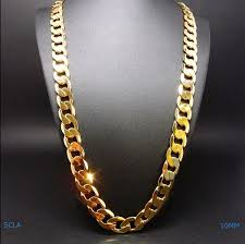 necklace gold chain design images Gold chain necklace 10mm 24k diamond cut smooth cuban link with a jpg