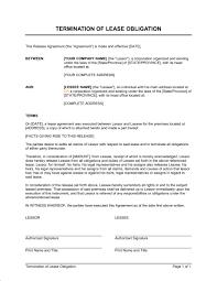 termination of lease obligation template u0026 sample form biztree