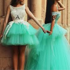 green tulle princess tulle prom homecoming dress mint green two style gown