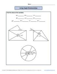 measuring angles worksheet using angle relationships