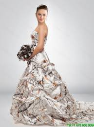 fashionable a line court train camo wedding dresses in multi color