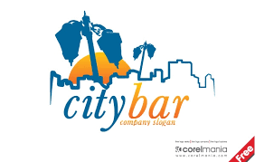 free city bar logo template free vector logo template