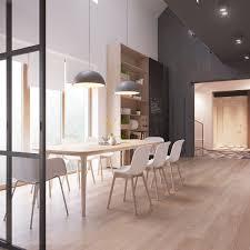 dining rooms hardwood floor hanging lamp white horizontal curtain