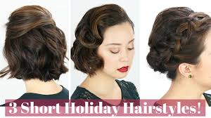 3 short hair holiday hairstyles youtube