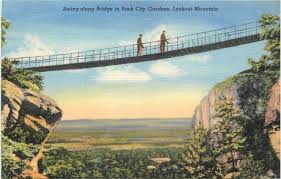 Rock City Gardens Tennessee Chattanooga Tennessee Swing Along Bridge Rock City Gardens 1940s