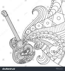 design coloring book doodles design guitar coloring book stock vector 422022694