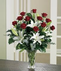 Long Stem Rose Vase Premium Lily U0026 Red Rose Bouquet At From You Flowers