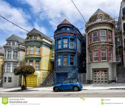 painted ladies victorian houses in san francisco stock photo