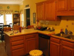 Kitchen Paint Colors For Oak Cabinets Yellow Wall Themes And Brown Wooden Oak Cabinet With White