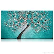 kgtech thick textured teal green floral tree acrylic handpainted