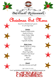 christmas set menu your christmas party at brilliant indian
