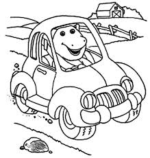 barney driving car barney friends colouring happy