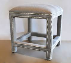 Small Ottoman Square Upholstered Grey Faux Shagreen Ottoman Mecox Gardens