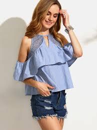 shoulder cut out blouse blue striped ruffle cutout cold shoulder blouse shein sheinside