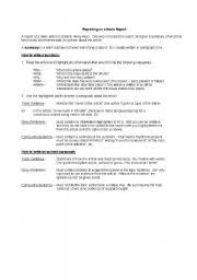 english situational writing report format English Worksheets Writing a News Report