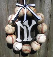 baseball love wreath with two let numbers wreaths and find this pin and more on crafts to do new york yankees baseball wreath